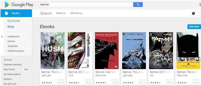 google books and comics