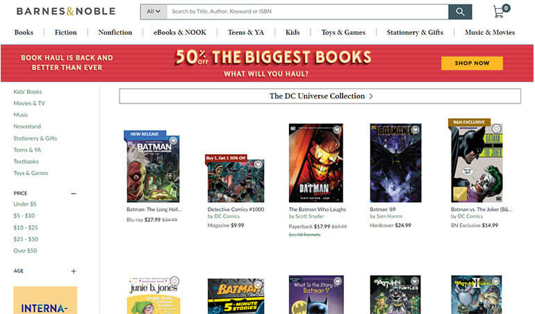Barnes and Noble and comics